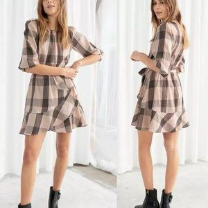 And & Other Stories Belted Plaid Mini Ruffle Dress